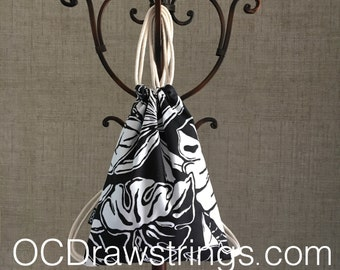 Black and White Drawstring Backpack - Tropical Cinch Sack - Small Backpack - Banana Lea Drawstring Bag - OC Drawstrings - OCD Bag