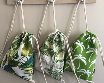 Tropical Drawstring Backpacks - Travel Backpack Purse - Small Cinch Sack - Palm Leaves Backpack - Drawstring Bag - OC Drawstrings - OCD Bags