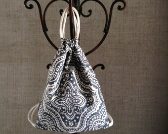 Morocco Backpack - Drawstring Backpack - Small Cinch Sack - Cute Gym Bag - Gray & Linen - OC Drawstrings Backpack - OCD