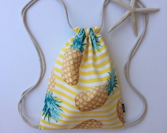 Pineapple Stripes Backpack - Yellow Drawstring Backpack - Small Knapsack - Fruity Cinch Sack - Small Tropical Beach Purse - Hawaiian - OCD
