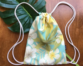 Tropical Backpack - Back In Stock! - Drawstring Backpack - Tommy Bahama Sugar Beach - Small Beach Bag - Hawaiian Cinch Sack - OCD Bag-