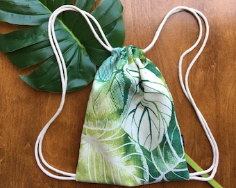 Malibu Backpack - Drawstring Backpack - Shoulder Bag- Cinch Sack - Small Beach Bag - Tropical Green Leaves - OCD Bag - OC Drawstrings