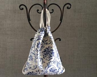 Cobalt Blue Floral Drawstring Backpack - Ralph Lauren Fabric - Cute Small Cinch Sack - Drawstring Purse - OCD Bag - OC Drawstrings