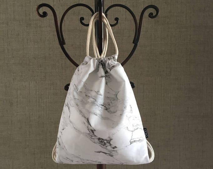 Featured listing image: Drawstring Backpack in Marble Print - Popular Carrara Marble Print Backpack Purse - Small Cinch Sack - Gray on White - Drawstring Bag - OCD
