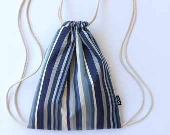 Blue Vertical Stripes Drawstring Backpack - Blue and Cream Backpack Purse - Small Striped Cinch Sack - Hands Free Bag - OC Drawstrings - OCD