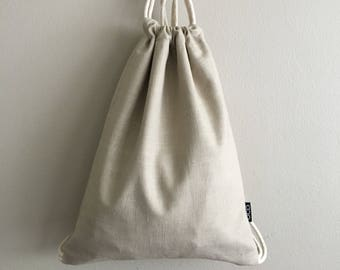 Stone Linen Drawstring Backpack - Hipster Backpack - His & Hers - Small Cinch Sack - Drawstring Purse - Cute Backpack - OC Drawstrings - OCD