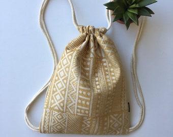 Citrine Yellow Drawstring Backpack - Tribal Print Shoulder Bag - Small Cinch Sack -  Flaxen Yellow Drawstring Purse - Cinch Bag - OCDrawstri