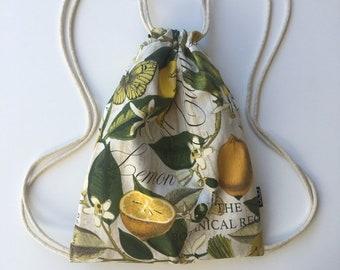 Fresh Lemons OC Drawstrings Backpack - Small Citrus Cinch Sack - Yellow Drawstring Backpack - Fruit Drawstring Bag - Botanical OCD