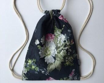White Peonies on Blue Drawstring Backpack - Floral Backpack - Hipster Backpack - Small Cinch Sack - Backpack Purse - OCDrawstrings - OCD Bag
