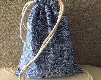 Drawstring Backpack - Blue Swirls Backpack Purse - Small Cinch Sack - Small Backpack - Drawstring Bag - Cinch Bag - OC Drawstrings - OCD