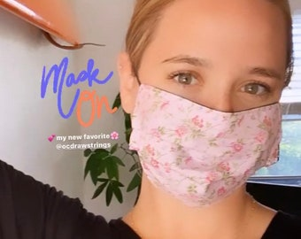 Vintage Floral Face Masks / Double Layer Breathable / Donation with each Order / Reversible / Washable / California / Made in USA / OCD Mask