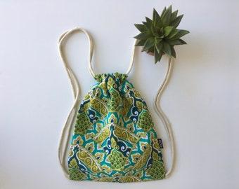 Basmati Drawstring Backpack - Green and Blue Backpack Purse - Small Cinch Sack - Bohemian Canvas Backpack - OC Drawstrings - OCD