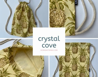 Crystal Cove Drawstring Backpack - Pineapple Backpack Purse - Small Cinch Sack - OCD Backpack - Tropical Drawstring Bag - OC Drawstrings