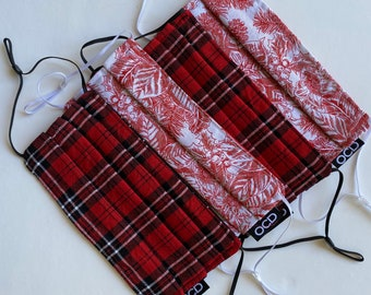 Holiday Face Mask Collection - Reversible - Double Layer Cotton - Adjustable Ear Loops - Donation with Purchase - Free Shipping - Pleated