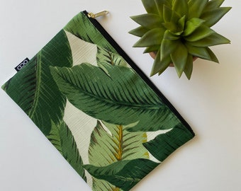 Tommy Bahama Banana Leaves on White - Zippered Makeup Pouch / Simple Zip Clutch /Tropical Carry-All for Phone Accessories / Travel Pouch