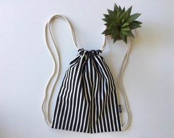 Hipster Drawstring Backpack - Black and White Backpack Purse - Small Cinch Sack - Striped Backpack - Drawstring Bag - OC Drawstrings - OCD