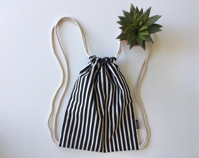 Featured listing image: Hipster Drawstring Backpack - Black and White Backpack Purse - Small Cinch Sack - Striped Backpack - Drawstring Bag - OC Drawstrings - OCD