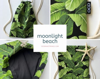 Moonlight Beach Drawstring Backpack - Tropical Leaf Backpack - Small Cinch Sack - Tommy Bahama Banana Leaves on Black - Small Purse - OCD