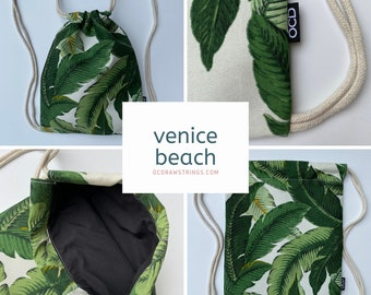 Venice Beach Drawstring Backpack - Tropical Drawstring Bag - Small Cinch Sack - Tommy Bahama - Palm Leaf Drawstring Bag - OC Drawstrings