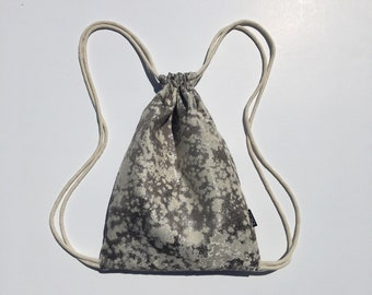 Granite Gray Drawstring Backpack - Small Cinch Sack - Gray and Cream Cinch Backpack - Marbled Drawstring Bag - OCD Bag - OC Drawstrings
