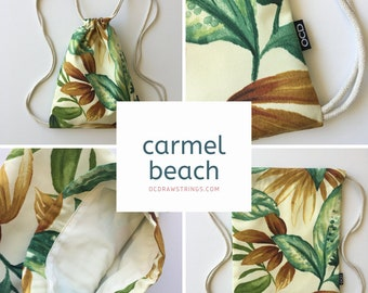 Carmel Beach Drawstring Backpack - Tropical Floral Backpack - Hipster Backpack - Small Cinch Sack - Backpack Purse - OCDrawstrings - OCD Bag