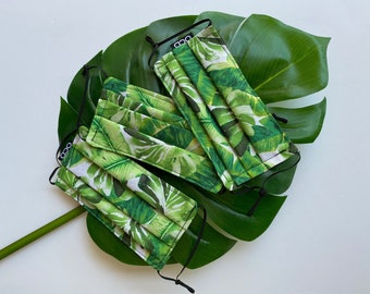 Banana Leaves Face Mask - Reversible to Black - Donation w/ Order - Double Layer Cotton - Adjustable Loops - Green Palms on White - OCD Mask