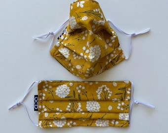 Handmade Face Mask / Mustard Yellow Floral /  2-Sided Washable Reusable Eco-Friendly / 100% Cotton /Double Layer Pleated Face Covering / OCD