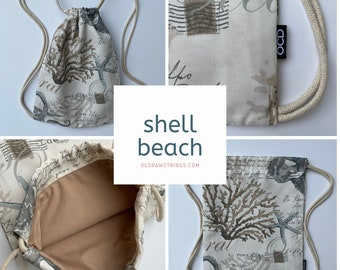 Shell Beach Drawstring Backpack - Under the Sea Cinch Sack - Small Drawstring Purse - Tropical Cinch Bag - HAWAII - OCD bag - OC Drawstrings