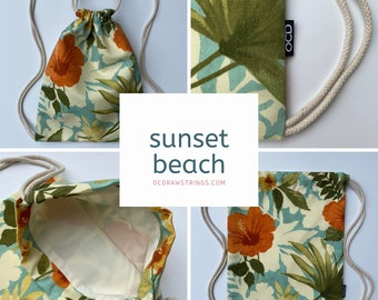 Sunset Beach Backpack - Hibiscus Drawstring Backpack - Small Knapsack- Cinch Sack - Tommy Bahama - Hawaiian Backpack Purse - OCD Bag