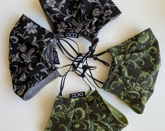 Handmade Face Mask / Black or Green Floral and Vines /  2-Sided Washable Reusable Eco-Friendly / 100% Cotton Double Layer / Face Covering