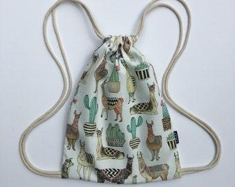 Llama Backpack - Cactus Drawstring Backpack -  Small Cinch Sack - Cute OCD Bag - Handsfree Summer Purse - OC Drawstrings - OCD
