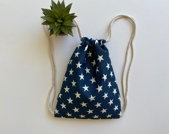USA Drawstring Backpack - Patriotic Backpack Purse - Small Cinch Sack - Stars and Stripes Canvas Backpack - OC Drawstrings - OCD