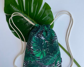 Tropical Jungle Drawstring Backpacks - Animal Print Backpack Purse - Small Cinch Sack - Palm Leaves Backpack - Black Green - OCD Bag