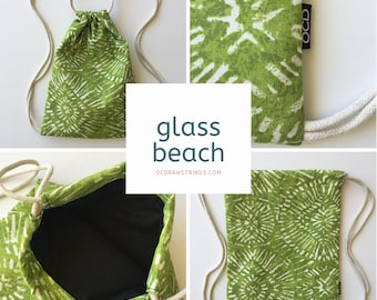 Glass Beach Drawstring Backpack - Tropical Backpack Purse - Small Cinch Sack - Aloha Backpack - Mini Drawstring Bag - OCD Bag - California