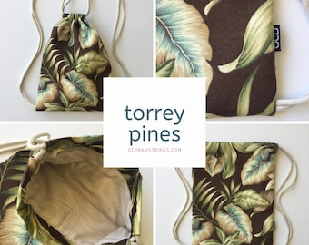 Torrey Pines Drawstring Backpack - Tropical Floral Backpack - Hipster Backpack - Small Cinch Sack - Backpack Purse - OCDrawstrings - OCD Bag