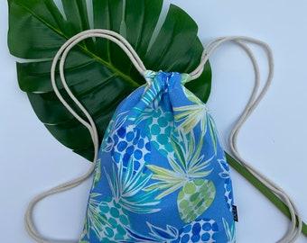 Pina Colada Backpack - Blue Drawstring Backpack - Shoulder Bag- Cinch Sack - Small Beach Bag - Pineapples- OCD Bag - OC Drawstrings