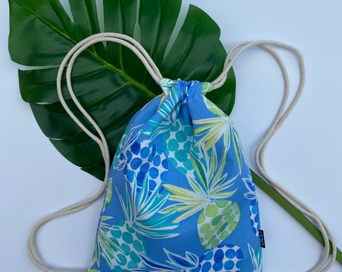 Featured listing image: Pina Colada Backpack - Blue Drawstring Backpack - Shoulder Bag- Cinch Sack - Small Beach Bag - Pineapples- OCD Bag - OC Drawstrings