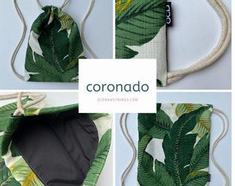 Coronado Drawstring Backpack - Palm Leaves Backpack - Small Banana Leaf Cinch Sack - Tropical OCD Bag - Tommy Bahama Drawstring Purse - OCD