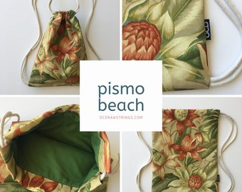 Pismo Beach Drawstring Backpack - Tropical Floral Drawstring Bag - Small Cinch Sack - Tommy Bahama - Summer Purse - Drawstring Bag - OCD Bag