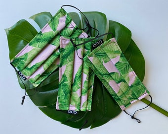 Tropical Face Mask - Reverse to Black or Pink - Donation with Order - Double Layer Cotton - Adjustable - Banana Leaves - Green Pink - OCD