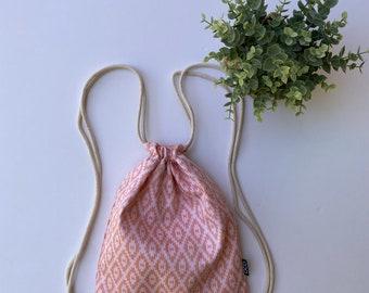 Aztec Backpack - Tribal Drawstring Backpack - Small Cinch Sack - Cute Gym Bag - Salmon and Apricot - OC Drawstrings Backpack - OCD Bag