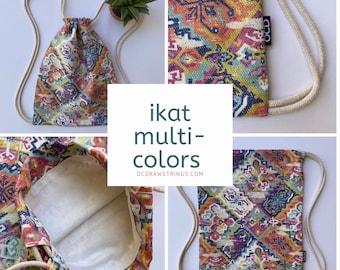 Ikat Multi Colored Backpack - Ethnic Drawstring Backpack - Small Cinch Sack - Cute Gym Bag - Minimalist Bag - OC Drawstrings Backpack - OCD