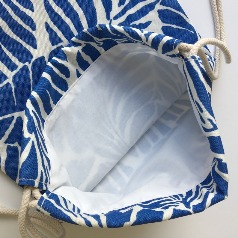 Small Cinch Sack Tropical Beach Bag Lakefront Palms Backpack Blue Palm Leaves Drawstring Backpack Hawaiian Mini Drawstring Purse