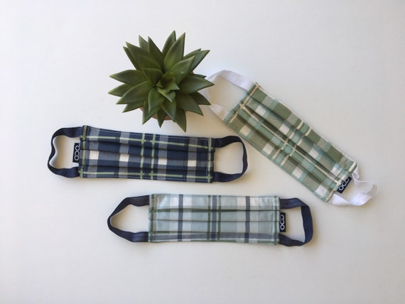 Plaid Face Mask - Buy1 Donate1 - Handmade - Washable - READY2SHIP - Cotton Fabric - Comfortable - Reusable - Blue - Green- Made in USA - OCD