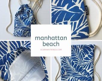 Manhattan Beach Backpack - Blue Palm Leaf Drawstring Backpack - Small Cinch Sack - Tropical Beach Bag - Mini Drawstring Purse - OCD