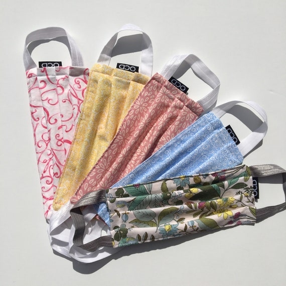 Pastel Face Masks - Handmade/Comfortable Cotton Fabric - Buy1Donate1 - Washable & Reusable - Made in USA - OC Drawstrings - OCD