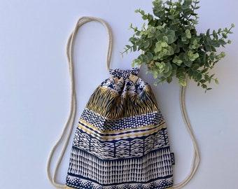 Blue and Yellow Drawstring Backpack - Tribal Print Shoulder Bag - Small Cinch Sack -  Horizontal Striped Drawstring Purse - Cinch Bag - OCD