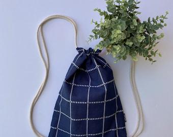 Navy and White Drawstring Purse - Small Cinch Sack Bag - Window Pane Drawstring Backpack - OCD Bag - OCDrawstrings - Checks and Plaids Bag