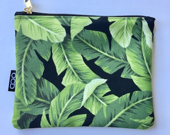Tommy Bahama Banana Leaves - Zippered Makeup Pouch / Simple Zip Clutch /Tropical Carry-All for Phone Accessories / Travel Pouch / OCD Bags