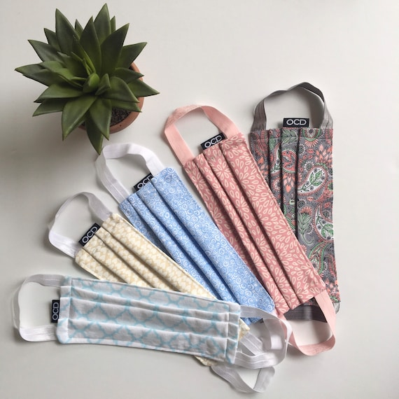Buy 1 Donate 1 - Reusable Soft Cotton Face Mask - Handmade - Pastel - Washable - Comfortable - Ready 2 Ship - Ship Today - Made in USA - OCD